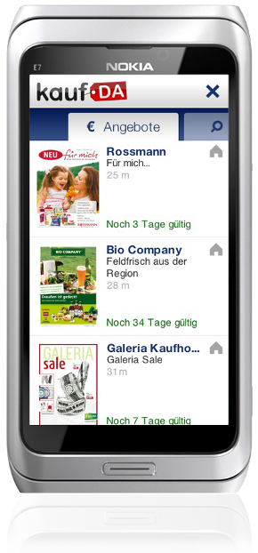 kostenlose Nokia Phone-App - kaufDA Navigator